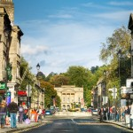 Great Pulteney Street from Argyll Street shopping and restaurants